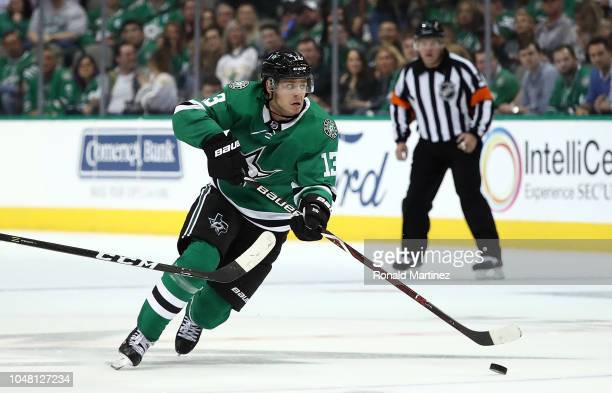 Mattias Janmark of the Dallas Stars at American Airlines Center on October 4 2018 in Dallas Texas