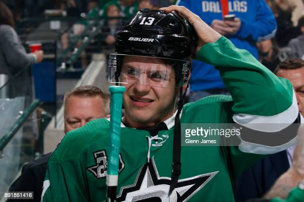 Mattias Janmark of the Dallas Stars before a game against the Vegas Golden Knights at the American Airlines Center on December 9 2017 in Dallas Texas