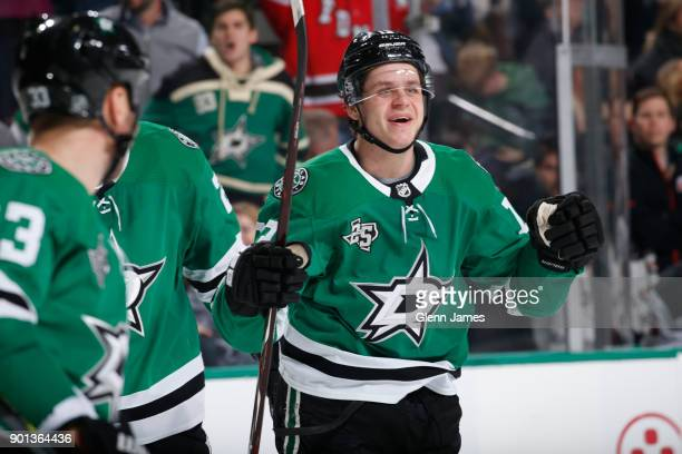 Mattias Janmark of the Dallas Stars celebrates a goal against the New Jersey Devils at the American Airlines Center on January 4 2018 in Dallas Texas