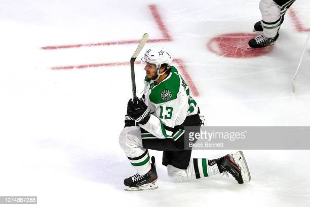 Mattias Janmark of the Dallas Stars celebrates after scoring a goal against the Tampa Bay Lightning during the third period in Game Two of the 2020...
