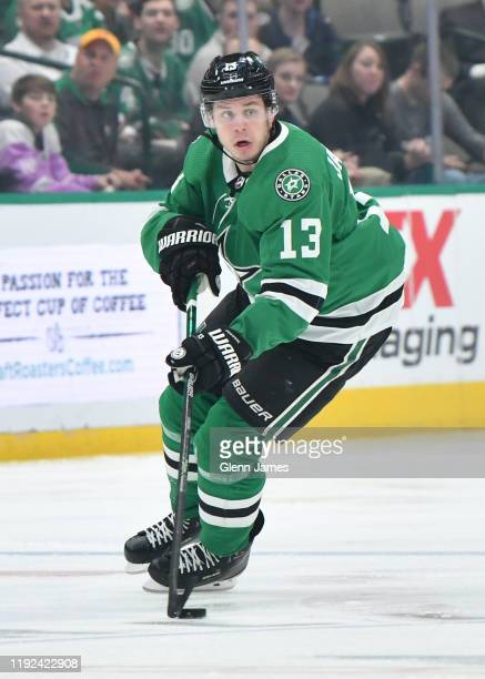 Mattias Janmark of the Dallas Stars handles the puck against the Winnipeg Jets at the American Airlines Center on December 5 2019 in Dallas Texas