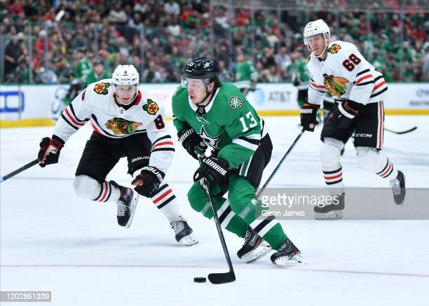 Mattias Janmark of the Dallas Stars handles the puck against the Chicago Blackhawks at the American Airlines Center on February 23 2020 in Dallas...