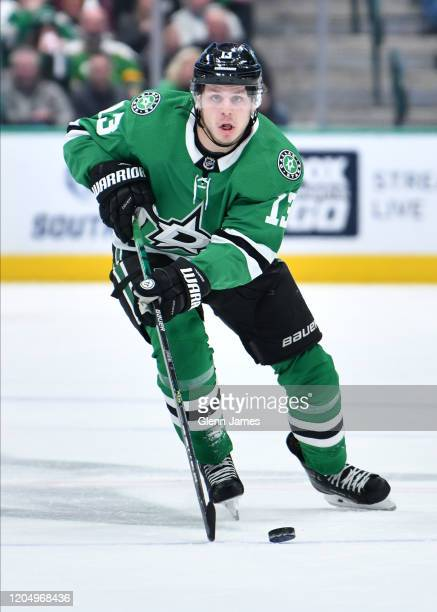 Mattias Janmark of the Dallas Stars handles the puck against the Minnesota Wild at the American Airlines Center on February 7 2020 in Dallas Texas