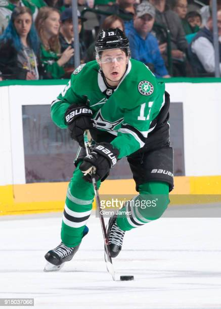 Mattias Janmark of the Dallas Stars handles the puck against the Minnesota Wild at the American Airlines Center on February 3 2018 in Dallas Texas