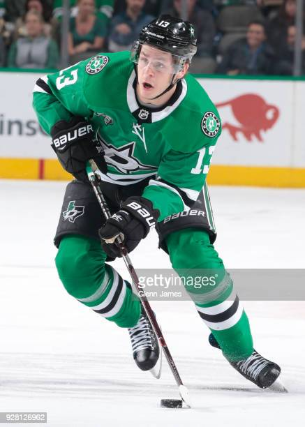 Mattias Janmark of the Dallas Stars handles the puck against the Tampa Bay Lightning at the American Airlines Center on March 1 2018 in Dallas Texas