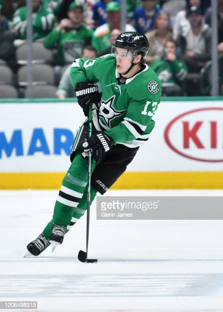 Mattias Janmark of the Dallas Stars handles the puck against the New York Rangers at the American Airlines Center on March 10 2020 in Dallas Texas