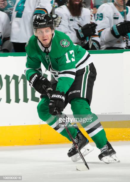 Mattias Janmark of the Dallas Stars handles the puck against the San Jose Sharks at the American Airlines Center on November 8 2018 in Dallas Texas