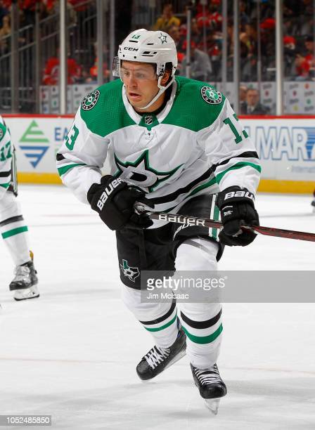 Mattias Janmark of the Dallas Stars in action against the New Jersey Devils at Prudential Center on October 16 2018 in Newark New Jersey The Devils...