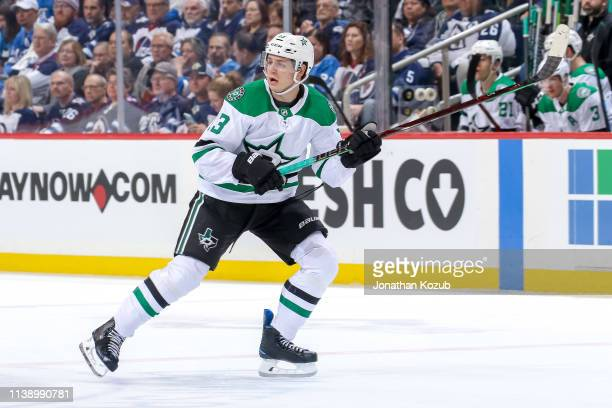 Mattias Janmark of the Dallas Stars keeps an eye on the play during first period action against the Winnipeg Jets at the Bell MTS Place on March 25...