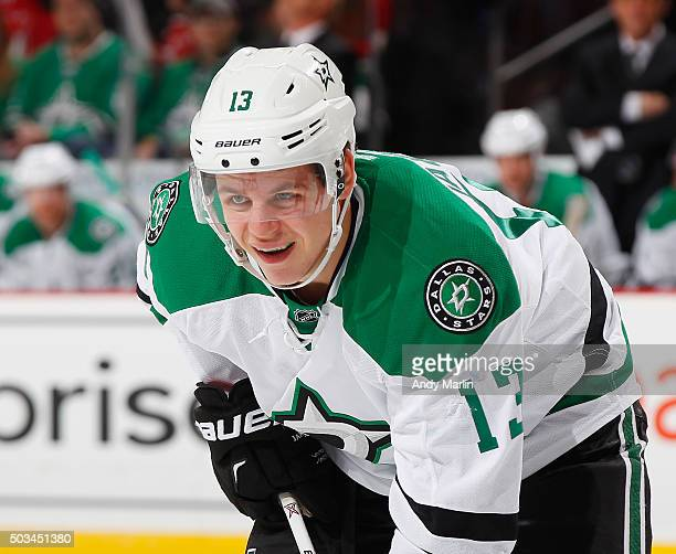 Mattias Janmark of the Dallas Stars looks on against the New Jersey Devils during the game at the Prudential Center on January 2 2016 in Newark New...