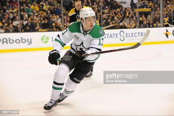Mattias Janmark of the Dallas Stars skates against the Boston Bruins at the TD Garden on January 15 2018 in Boston Massachusetts
