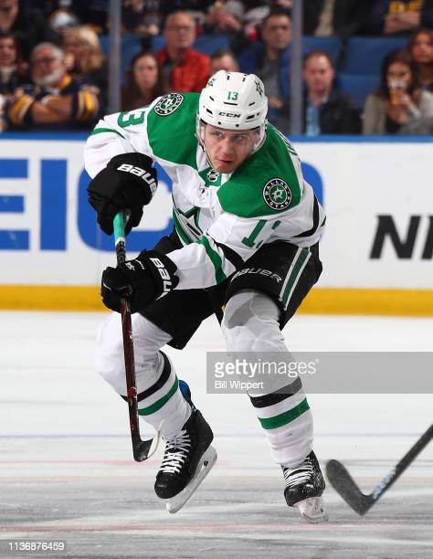 Mattias Janmark of the Dallas Stars skates against the Buffalo Sabres during an NHL game on March 12 2019 at KeyBank Center in Buffalo New York