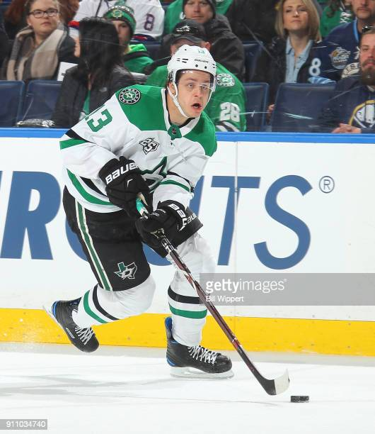 Mattias Janmark of the Dallas Stars skates against the Buffalo Sabres during an NHL game on January 20 2018 at KeyBank Center in Buffalo New York