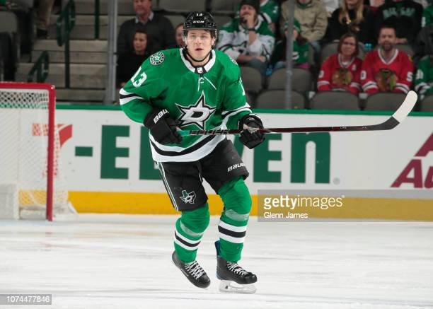 Mattias Janmark of the Dallas Stars skates against the Chicago Blackhawks at the American Airlines Center on December 20 2018 in Dallas Texas