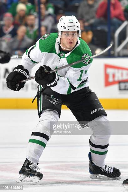 Mattias Janmark of the Dallas Stars skates against the Columbus Blue Jackets on November 6 2018 at Nationwide Arena in Columbus Ohio