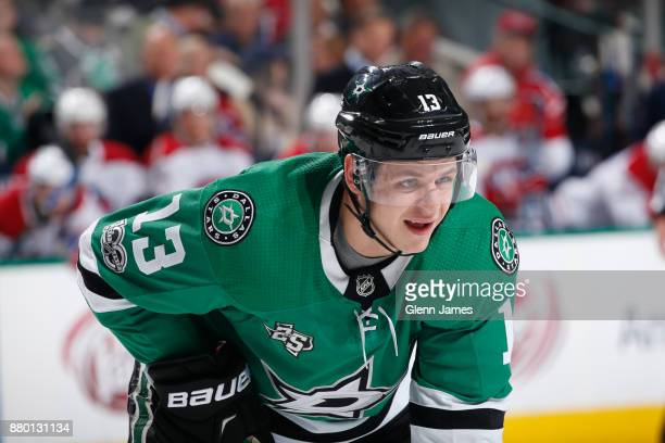 Mattias Janmark of the Dallas Stars skates against the Montreal Canadiens at the American Airlines Center on November 21 2017 in Dallas Texas