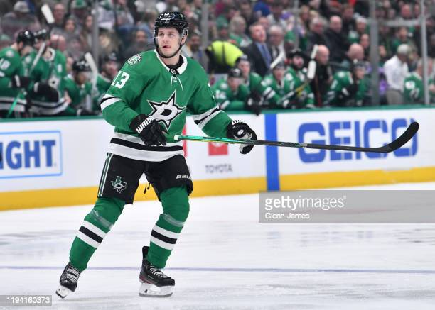 Mattias Janmark of the Dallas Stars skates against the New York Islanders at the American Airlines Center on December 7 2019 in Dallas Texas