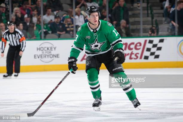 Mattias Janmark of the Dallas Stars skates against the St Louis Blues at the American Airlines Center on February 16 2018 in Dallas Texas