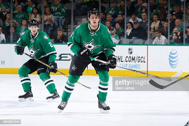 Mattias Janmark of the Dallas Stars skates against the Vancouver Canucks at the American Airlines Center on October 29 2015 in Dallas Texas