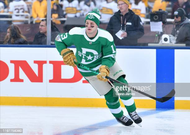 Mattias Janmark of the Dallas Stars skates during warm ups before the 2020 NHL Winter Classic at The Cotton Bowl on January 1 2020 in Dallas Texas