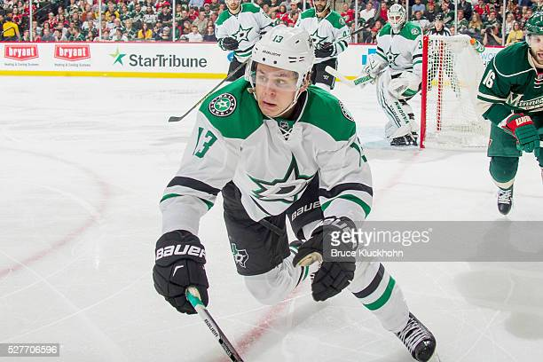 Mattias Janmark of the Dallas Stars skates to the puck against the Minnesota Wild in Game Four of the Western Conference First Round during the 2016...