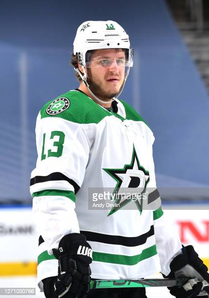 Mattias Janmark of the Dallas Stars warms up before Game One of the Western Conference Final of the 2020 NHL Stanley Cup Playoff between the Dallas...