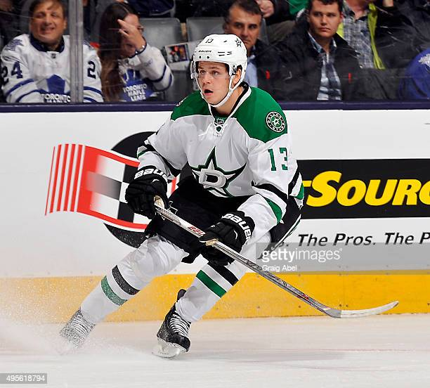 Mattias Janmark of the Dallas Stars watches the play against the Dallas Stars during game action on November 2 2015 at Air Canada Centre in Toronto...