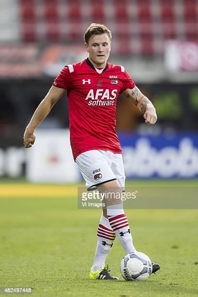 Mattias Johansson of AZ Alkmaar during the Europa league third qualifying round match between AZ Alkmaar and Istanbul Basaksehir on July 30, 2015 at...