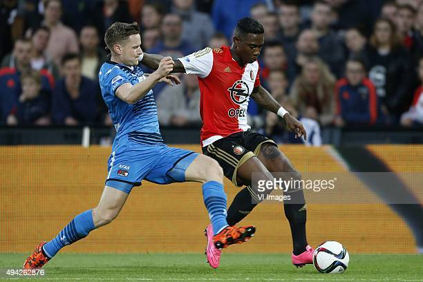 , Mattias Johansson of AZ Alkmaar, Eljero Elia of Feyenoord during the Dutch Eredivisie match between Feyenoord rotterdam and AZ Alkmaar at the Kuip...