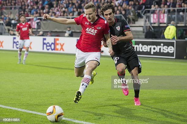 Mattias Johansson of AZ Alkmaar, Inigo Lekue Martinez of Athletic de Bilbao during the UEFA Europa League match between AZ Alkmaar and Athletic de...
