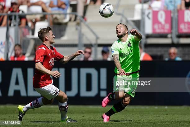 Mattias Johansson of AZ Alkmaar, Lasse Schone of Ajax during the Dutch Eredivisie match between AZ Alkmaar and Ajax Amsterdam at AFAS stadium on...