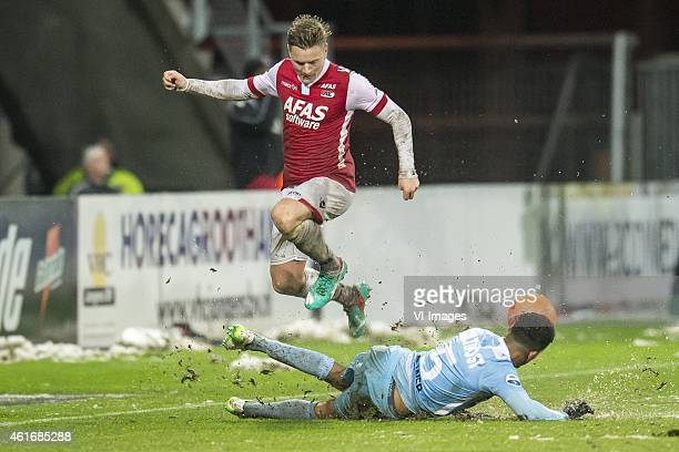 Mattias Johansson of AZ Alkmaar, Marvin Peersman of FC Dordrecht during the Dutch Eredivisie match between AZ Alkmaar and FC Dordrecht at AFAS...