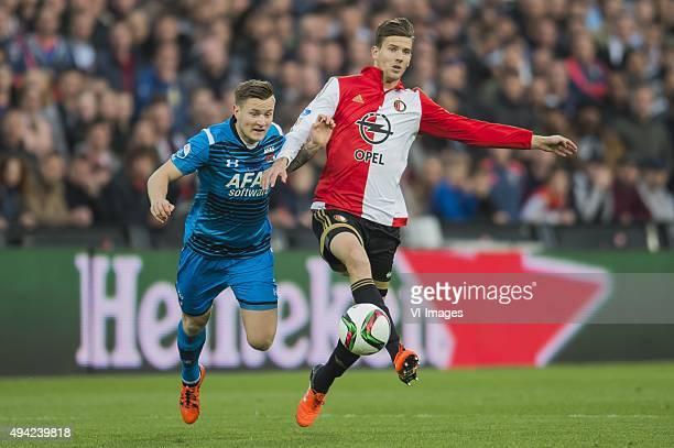 Mattias Johansson of AZ Alkmaar, Michiel Kramer of Feyenoord during the Dutch Eredivisie match between Feyenoord rotterdam and AZ Alkmaar at the Kuip...