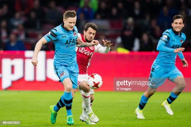 Mattias Johansson of AZ, Amin Younes of Ajax, Joris van Overeem of AZduring the Dutch Eredivisie match between Ajax Amsterdam and AZ Alkmaar at the...