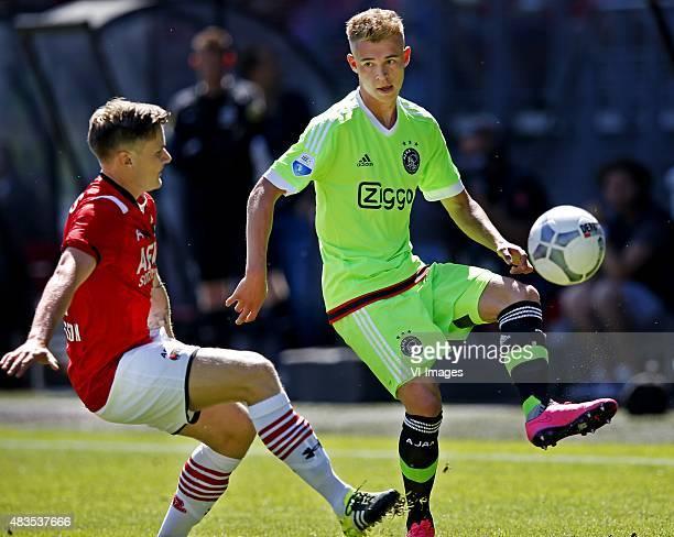 Mattias Johansson of AZ, Daley Sinkgraven of Ajax during the Dutch Eredivisie match between AZ Alkmaar and Ajax Amsterdam at AFAS stadium on August...