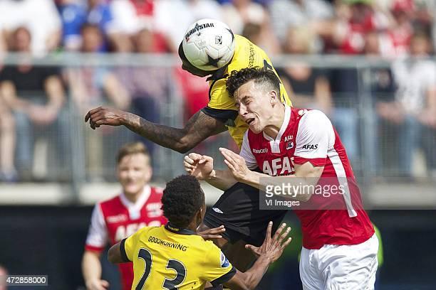 Mattias Johansson of AZ, Divine Naah of NAC Breda, Guyon Fernandez of NAC Breda, Thom Haye of AZ during the Dutch Eredivisie match between AZ Alkmaar...