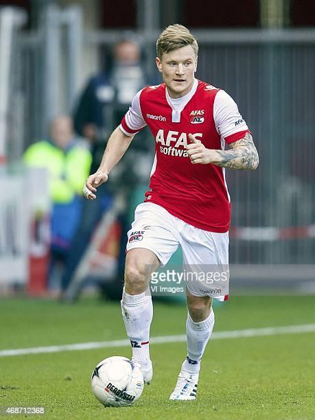 Mattias Johansson of AZ during the Dutch Eredivisie match between AZ Alkmaar and Feyenoord Rotterdam at AFAS stadium on April 05, 2015 in Alkmaar,...