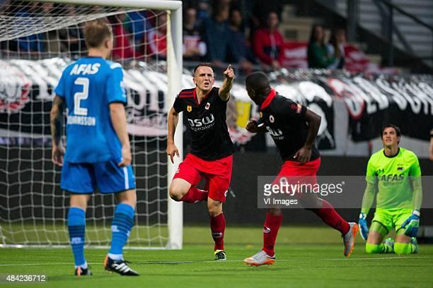 Mattias Johansson of AZ, Jeff Stans of Excelsior, Nigel Hasselbaink of Excelsior, goalkeeper Sergio Rochet of AZ during the Dutch Eredivisie match...