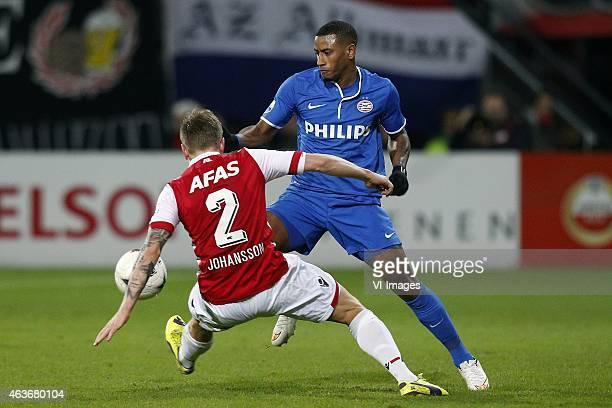 , Mattias Johansson of AZ, Luciano Narshingh of PSV during the Dutch Eredivisie match between AZ Alkmaar and PSV Eindhoven at AFAS stadium on...