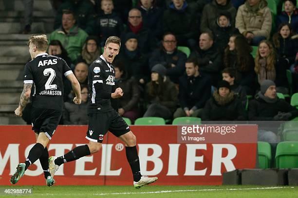 Mattias Johansson of AZ, Markus Henriksen of AZ during the Dutch Eredivisie match between FC Groningen and AZ Alkmaar at Euroborg on February 8, 2015...