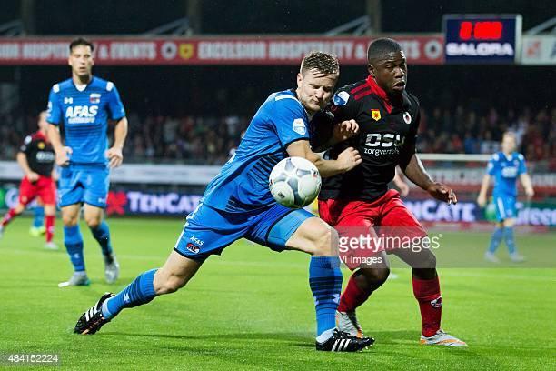 Mattias Johansson of AZ Nigel Hasselbaink of Excelsior during the Dutch Eredivisie match between Excelsior Rotterdam and AZ Alkmaar at Woudenstein...