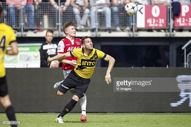 Mattias Johansson of AZ, Remy Amieux of NAC Breda during the Dutch Eredivisie match between AZ Alkmaar and NAC Breda at AFAS stadium on May 10, 2015...