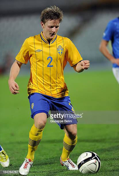 Mattias Johansson of Sweden in action during the UEFA European Under-21 Championship play-off match between Italy and Sweden at Adriatico Stadium on...