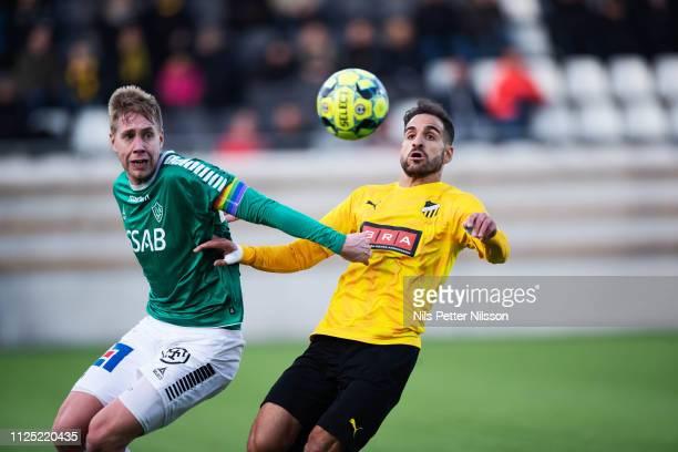 Mattias Liljestrand of IK Brage and Mervan Celik of BK Hacken competes for the ball during the Svenska Cupen group stage match between BK Hacken and...