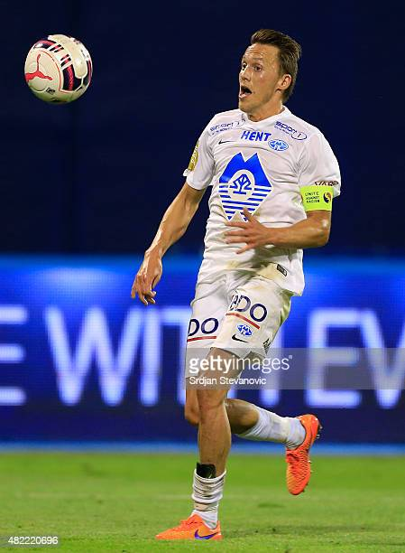 Mattias Mostrom of FC Molde in action during the UEFA Champions League Third Qualifying Round 1st Leg match between FC Dinamo Zagreb and FC Molde at...