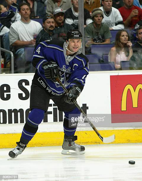 Mattias Norstrom of the Los Angeles Kings passes the puck during the game against the San Jose Sharks on March 31, 2004 at Staples Center in Los...