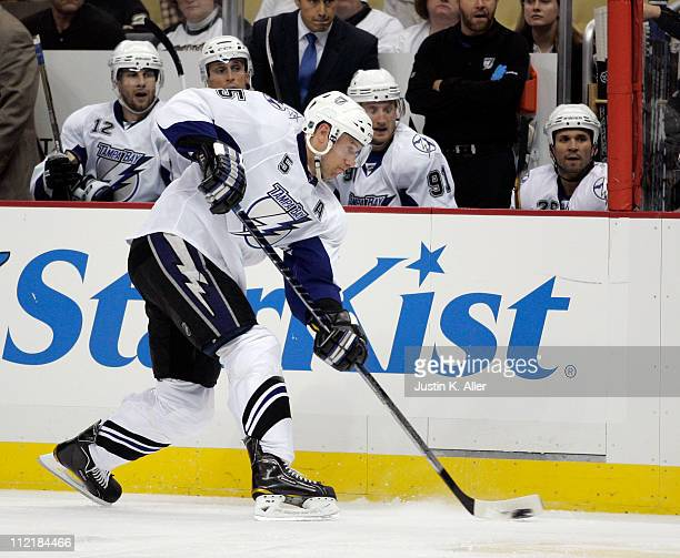 Mattias Ohlund of the Tampa Bay Lightning skates against the Pittsburgh Penguins in Game One of the Eastern Conference Quarterfinals during the 2011...