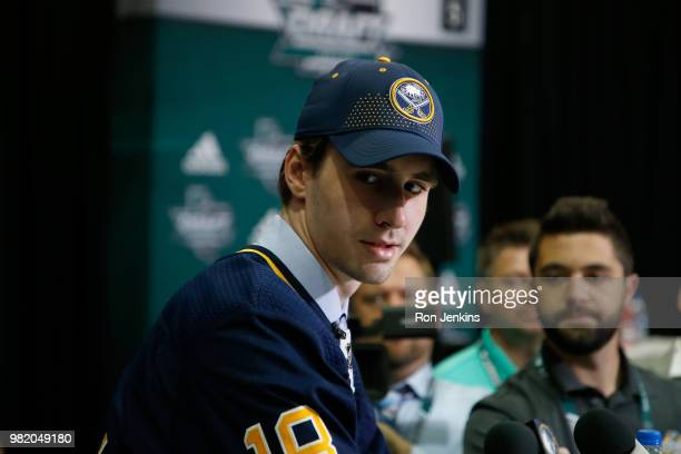 Mattias Samuelsson after being selected 32nd overall by the Buffalo Sabres during the 2018 NHL Draft at American Airlines Center on June 23 2018 in...