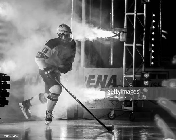 Mattias Samuelsson of the USA Nationals skates onto the ice before the start of the 2018 Under-18 Five Nations Tournament game against the Russian...