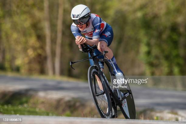 Mattias Skjelmose from Denmark of Trek - Segafredo during the 100th Volta Ciclista a Catalunya 2021, Stage 2 Individual Time Trial from Banyoles to...